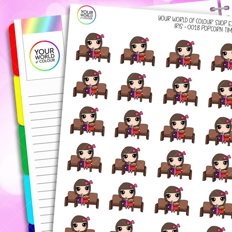 Iris Popcorn Planner Stickers Hand Drawn Characters for use image 0