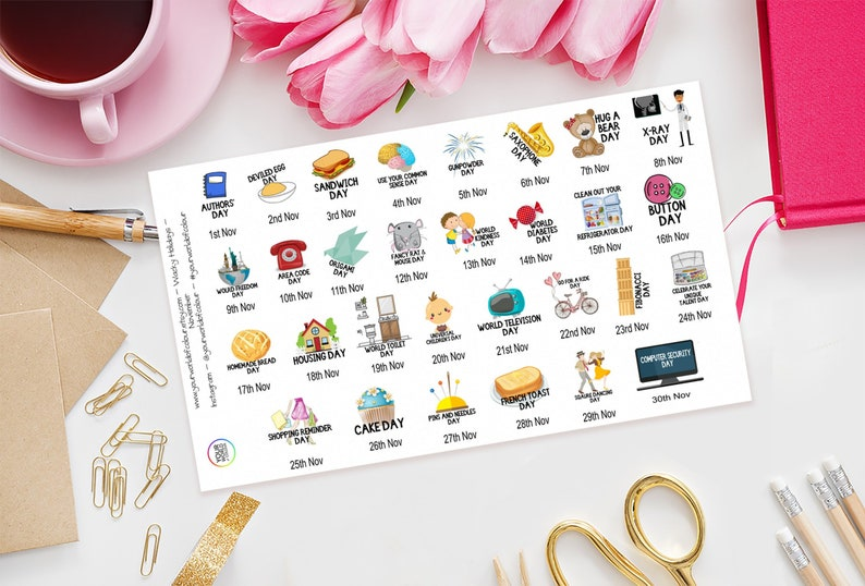 November Wacky Holidays Planner Stickers for Erin Condren image 0