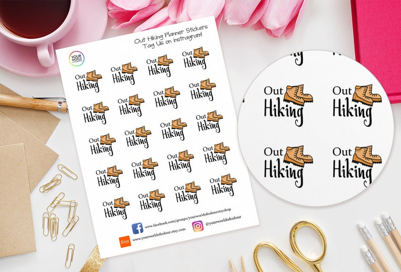 Out Hiking Planner Stickers for Erin Condren Filofax Happy image 0