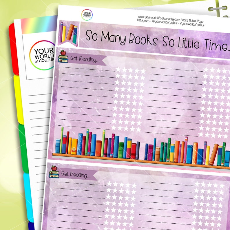 Planner Notes Sticker Kit Reading Notes Page Kit Sized for image 0