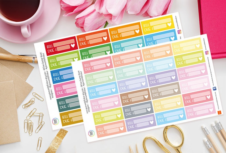 Bill Due Quarter Boxes Planner Stickers for use with Erin image 0