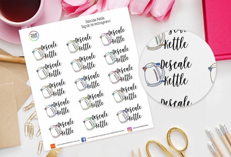 Descale Kettle Planner Stickers for Erin Condren Life Planner image 0
