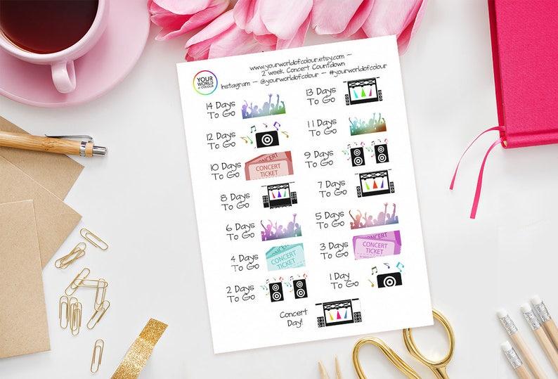Concert Countdown Stickers For Erin Condren Happy Planner image 0