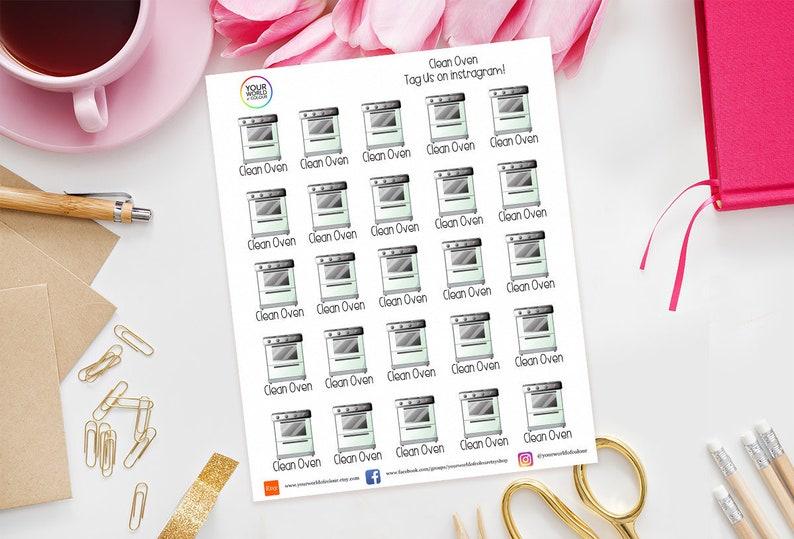 Clean Oven Planner Stickers for Erin Condren Kikki K image 0