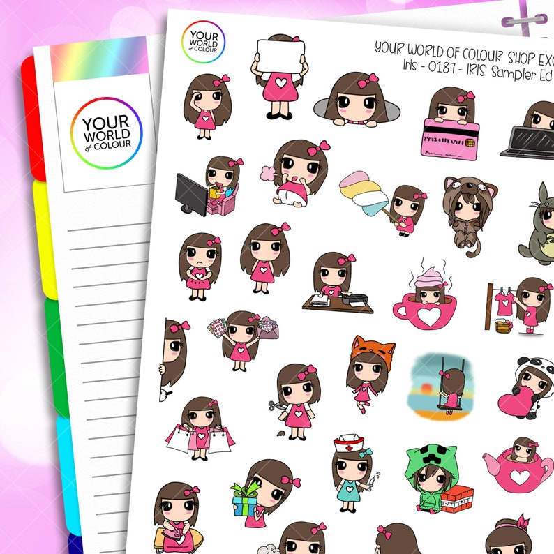 Iris Character Planner Stickers Sampler ED.3 for use with Erin image 0