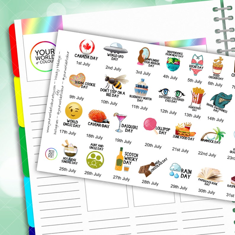 July Wacky Holidays Planner Stickers 2020 for Erin Condren image 0
