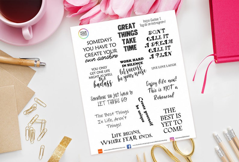 inspirational Quotes Planner Stickers  perfect for Erin image 0