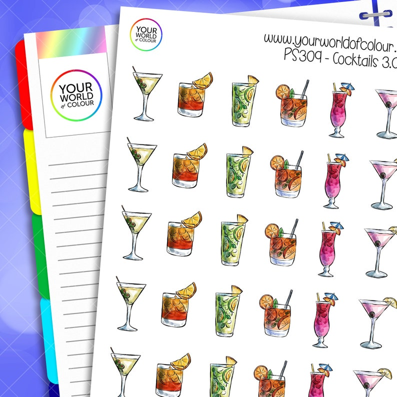 Summer Cocktail Planner Stickers for use with Erin Condren image 0