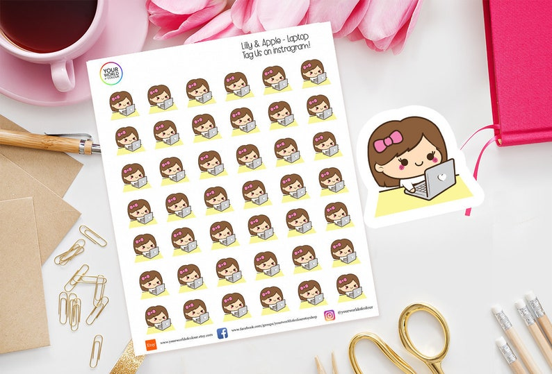 Lilly Laptop Planner Stickers for use with Erin Condren image 0