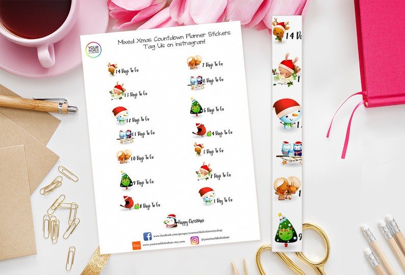 Mixed Christmas Countdown Planner Stickers  perfect for Erin image 0