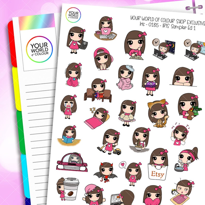 Iris Character Planner Stickers Sampler ED.1 for use with Erin image 0