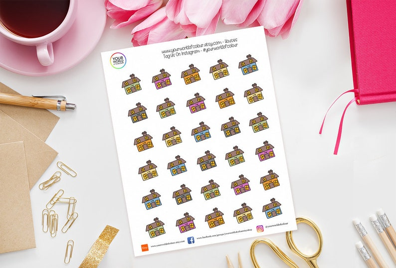 Hand Drawn House Planner Stickers for use with Erin Condren image 0