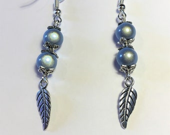 "Earrings ""Blue and feathers"""