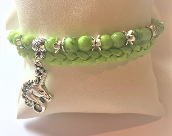 """""""The Unicorn and green pearls"""" bracelet"""