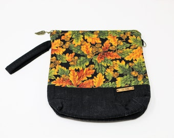 Fabric Project Bag - Cloth - Cotton - Machine Quilted - Fully Lined - Zipper - 'Autumn'