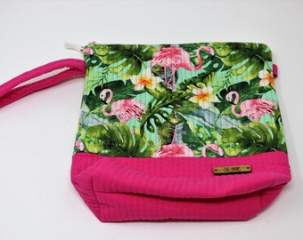 Fabric Project Bag - Cloth - Cotton - Machine Quilted - Fully Lined - Zipper - 'Flamingo'