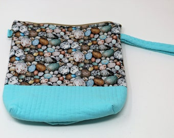 Fabric Project Bag - Cloth - Cotton - Machine Quilted - Fully Lined - Zipper - 'Pebbles'