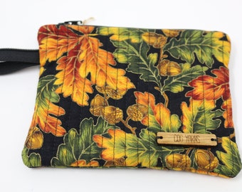 Fabric Project Bag - Cloth - Cotton - Machine Quilted - Fully Lined - Zipper - Coin Purse - Notion Bag - 'Autumn'