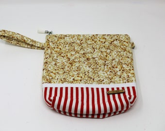 Fabric Project Bag - Cloth - Cotton - Machine Quilted - Fully Lined - Zipper - 'Popcorn'