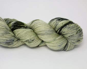 Hand Dyed Yarn - Superwash - Silver Stellina Sock Yarn - 84/16 Merino/Stellina - Variegated- 'Peaceful Haze'