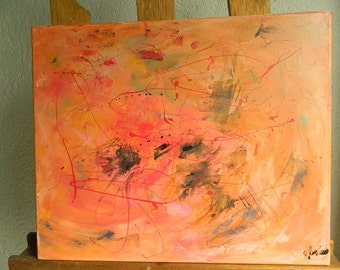 acrylic abstract painting coral
