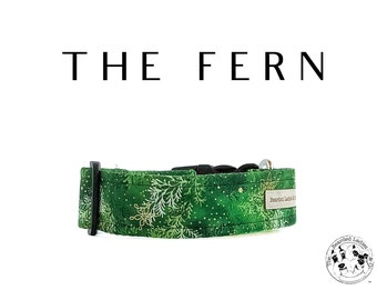 The Fern : Gold and Green Winter Plants Dog Collar