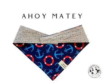 Ahoy Matey : Anchors Tie/On,Reversible Dog Bandana