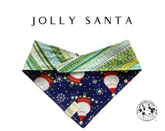 Jolly Santa : Fun Santas and Modern Holiday Tie/On Reversible Dog Bandana