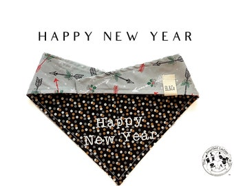 Happy New Year : Tie/On, Reversible Dog Bandana
