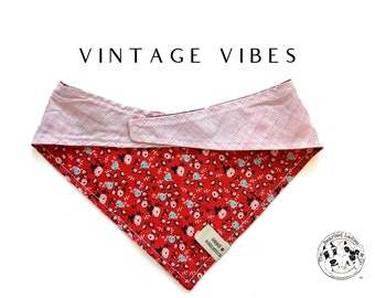 Vintage Vibes : Vintage Roses with Pink Plaid  Tie/On, Reversible Dog Bandana