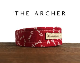 Valentine's Day Dog Collar // The Archer : Red with Hearts and Arrows Dog Collar