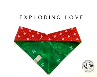 Exploding with Love : Green Foil Shamrocks and Pink Hearts Tie/On, Reversible Dog Bandana
