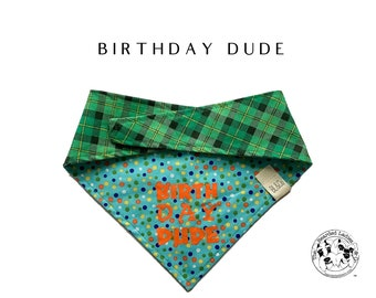 Birthday Dude :  Green Plaid with Coordinating Dots Birthday Dude Tie/On Reversible Dog Bandana