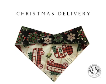 Christmas Delivery : Holiday Trucks and Snowflakes Tie/On Reversible Dog Bandana