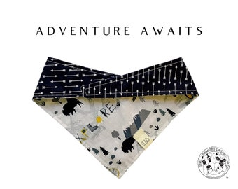 Adventure Awaits : Explore the outdoors and Navy with Arrows Tie/On, Reversible Dog Bandana