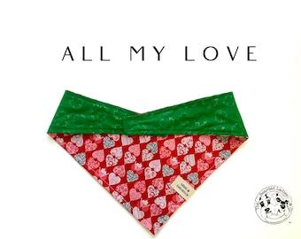 Valentine's Day Dog // All My Love : Gold Shamrock and Hearts Tie/On, Reversible Dog Bandana