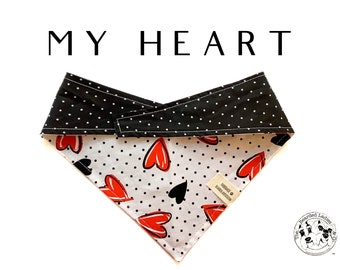 My Heart : Valentine's Day, Black Polka Dot Reversible, Tie/On Dog Bandana