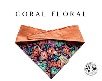 Coral Floral : Floral and Peach Tie/On Reversible Dog Bandana