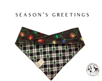 Season's Greetings : Christmas Lights with Black and White Plaid Tie/On, Reversible Dog Bandana