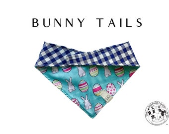 Bunnies and Easter Eggs with Blue Gingham Bandana // Bunny Tails : Tie/On, Reversible Dog Bandana