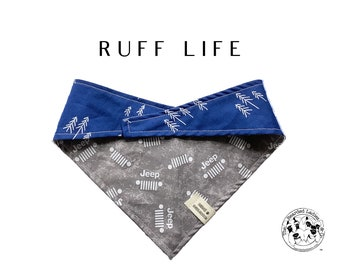 Ruff Life : Jeep Brand with Blue Tree Print Tie/On Reversible Dog Bandana