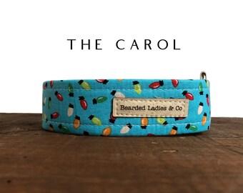The Carol : Blue with Colorful Holiday Light Bulbs Dog Collar
