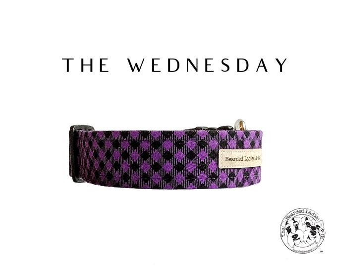 Featured listing image: The Wednesday : Purple and Black Check Dog Collar