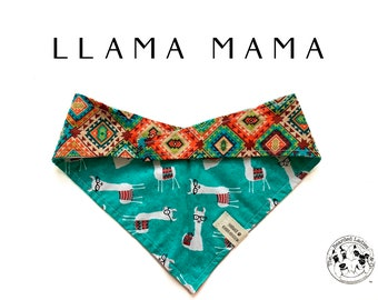 Llama Mama : Llama and Southwest Tie/On, Reversible Dog Bandana