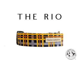 The Rio : Navy and Mustard Plaid Dog Collar