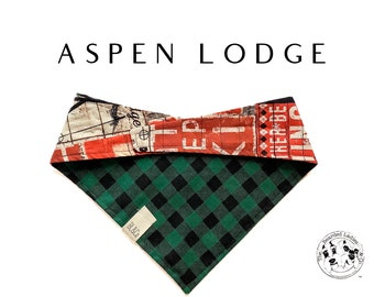 Aspen Lodge : Green Buffalo Check and Ski Lodge Tie/On, Reversible Dog Bandana