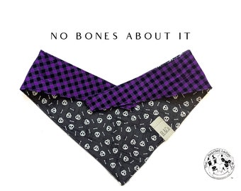 No Bones About It : Purple Check with Skulls & Bones Tie/On, Reversible Dog Bandana