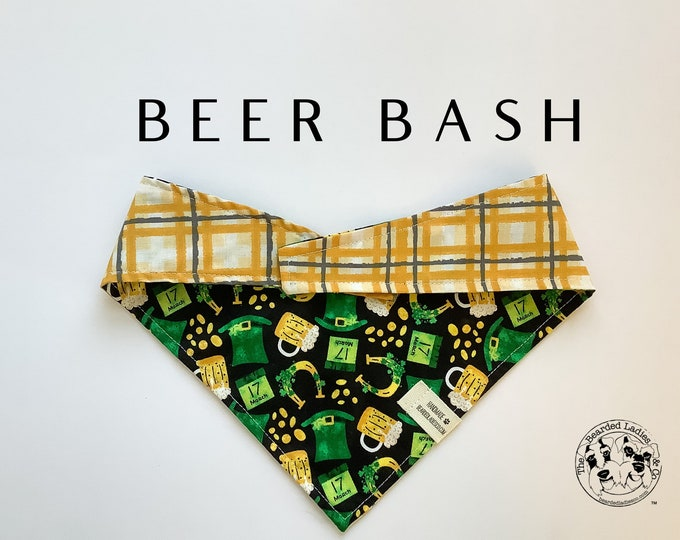 Featured listing image: Beer Bash :  Saint Patrick's Day Beer Tie/On, Reversible Dog Bandana