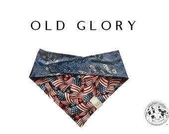 American Flag and Blue Floral Dog Bandana // Old Glory Tie/On Reversible Dog Bandana