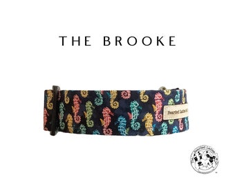 The Brooke : Navy with Colorful Seahorses Dog Collar